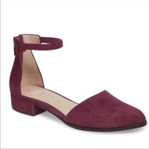 Eileen Fisher Hutton Ankle Strap Flat Raisin Color